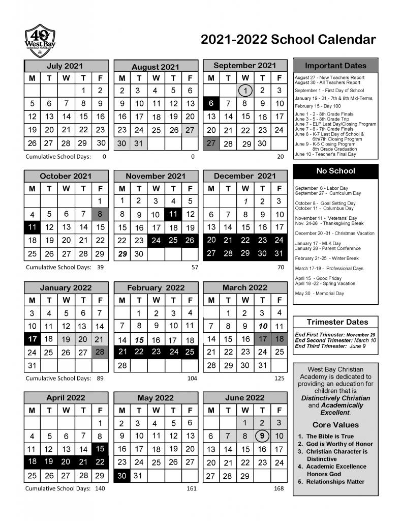 2022 School Calendar